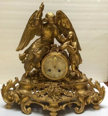 Antique Figural French Guilted Clock Circa 1867