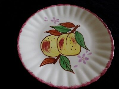 "Blue Ridge Yellow Apples Salad Plate 8½"" County Fair Red Fruit Southern Pottery"