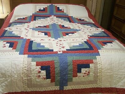 "Hand Stitched  Reversible Log Cabin,  Lone Star on back,  Queen size 65"" x 84"""