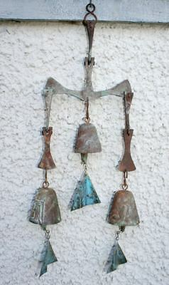 Vintage PAOLO SOLERI Triple Wind Bell Wind Chime. Cast Bronze Sculpture MCM Rare