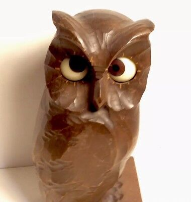 Anique Owl Wood Carved Germany Clock For Repair Or Parts