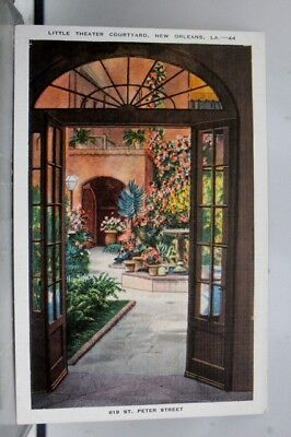 Louisiana LA New Orleans Little Theater Courtyard St Peter Street Postcard Old