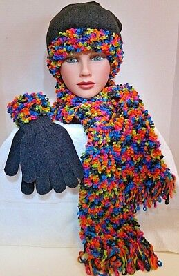 Accessories, Knit Womens Hat, Gloves and Scarf Set  Black with bold colors