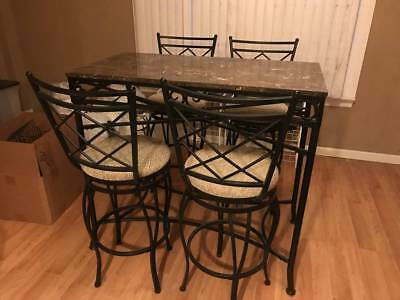 Wrought Iron Metal and Marble Pub Style Dining Set Table Chairs