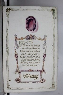 Greetings February Amethyst Postcard Old Vintage Card View Standard Souvenir PC