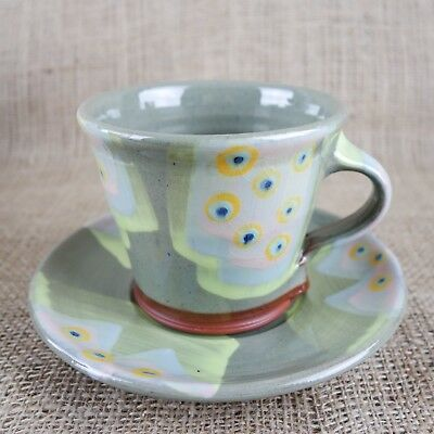John Pollex - Large Cup On Saucer - Earthenware Coloured Slips & Paint