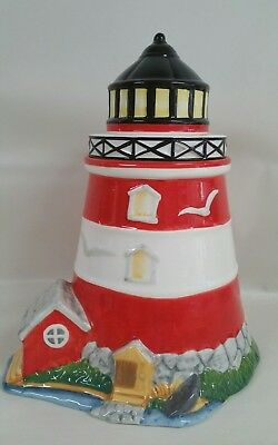 Lighthouse bright colored ceramic cookie jar  sea side decor