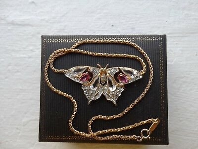 Vintage antique butterfly necklace w/pink, clear stones & gold tone chain.