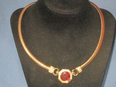 Vintage Gold-Tone Metal Clear Rhinestone Lucite Gladiator Intaglio Necklace