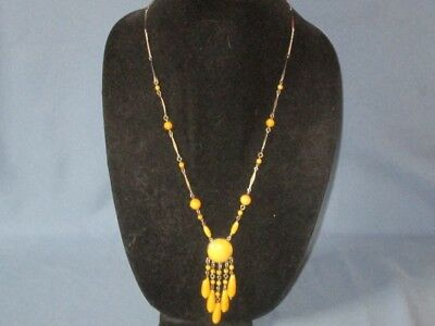 Vintage Silver-Tone Metal Yellow Glass Art Deco Tassel Design Necklace