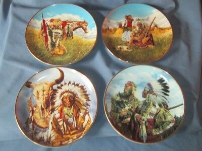 Set of 4 American Indian Heritage Museum South Western Plates Horse & Rider