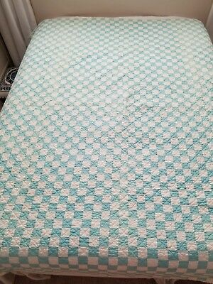 Vintage Aqua Blue and White Checkered Quilt.   Entirely Hand Stitched Huge 80...