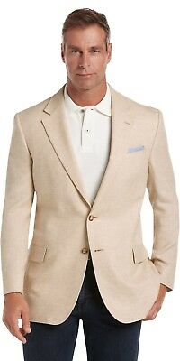 Tropical Blend Tailored Fit Mix Weave TAN Sportcoat Blazer Linen NWT NEW 41R