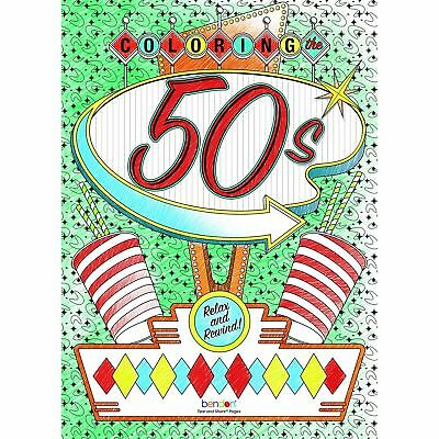 NEW Coloring the 50's Coloring Book for Adult & Children Rockabilly Vintage Gift