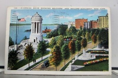 New York NY NYC Riverside Drive Soldiers Sailors Monument Postcard Old Vintage