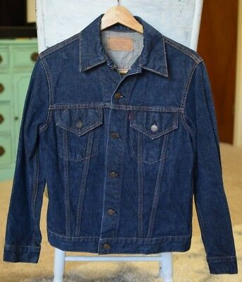 Vintage Levis Dark Denim Trucker Jacket Big E - Type 3 - 70505 - Sz 36 (S) MINT!