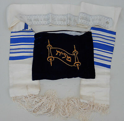 Vintage Talit Tallis Blue & White Jewish Silk Prayer Shawl Hebrew