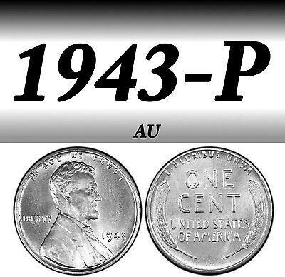 1943-P Steel Lincoln Bright Clear Almost Uncirculated Penny===Au===Steel===
