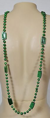 """Southern Comfort Green Plastic Bead Necklace 44"""" Mardi Gras St. Patrick's Day"""