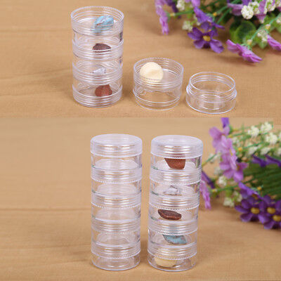 2x5 Plastic Clear Screw Top Storage Container Craft Jewelry Bead Display Box