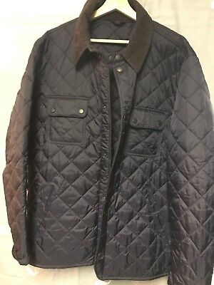 Barbour Men's Lightweight Quilted Tinford Jacket Button Front Navy XL