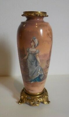"19th C. French Limoges Enamel on Bronze 7.75"" Portrait Vase (#4)"