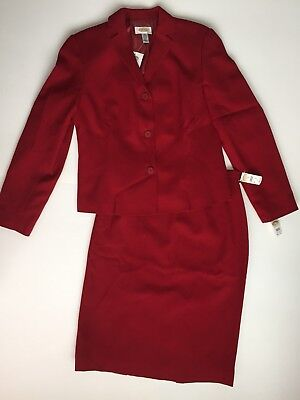 Talbots Sz 8 Red Wool Skirt Suit Modest New With Tags Career