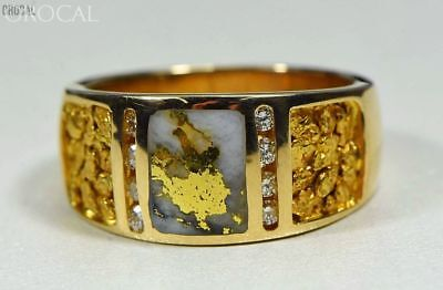 """Gold Nugget/Quartz Men's Ring """"Orocal"""" RM732LDNQ Genuine Hand Crafted Jewelry -"""