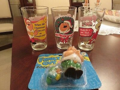 "3 Family Guy Christmas Glass 5 3/4"" Tumblers & Peter Griffin Jelly Bean Pooper"