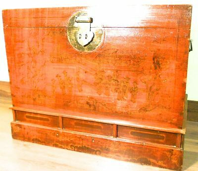 Antique Chinese Trunk (5781), Hand Painted Red Lacquer, Circa 1800-1849