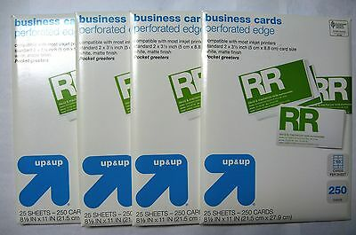 """NEW 1000 COUNT PERFORATED EDGE BUSINESS CARDS 2""""x3 1/2"""" WHITE MATTE INKJET"""