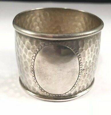 EARLY 1800's ANTIQUE STERLING SILVER .925 HANDMADE HAND HAMMERED NAPKIN RING