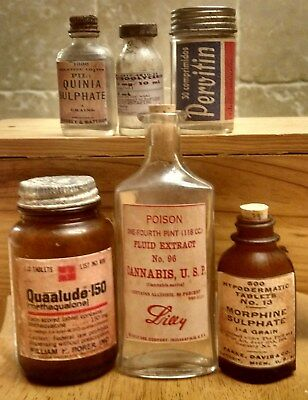 Old Medicine Bottle Hand Crafted,Quaalude,Cannabis,Morphine,Pervitin,Nitro