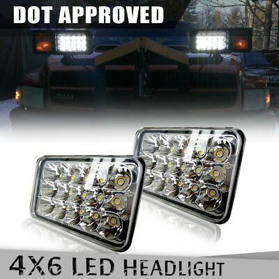 "2Pcs DOT Approved 4""x6'' LED Headlights For Chevrolet Kenworth H4652 H4666 H4651"