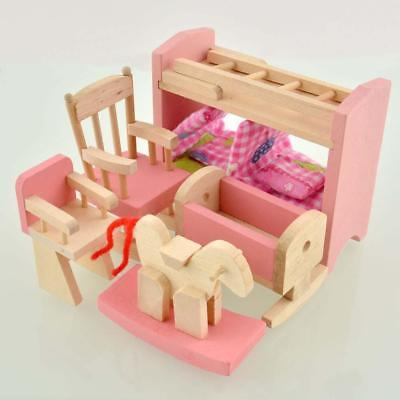 Wooden Furniture Dolls House Family Miniature Nursery Room Dolls For Kids Hot TH