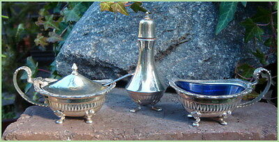 Vintage Silverplate Perfection Cruet Set Salt Cellar Mustard Pot Pepper Shaker