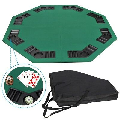 Folding Octagon Poker Card Game Table Top w/ Cup Chip Holders Blackjack Party