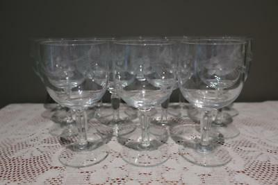 Vintage Etched Glass Small Wine Glasses X 12 - 140Ml - Flower & Foliage - Vgc