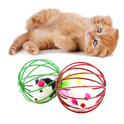 Funny Gift Play Playing Toys False Mouse In Rat Cage Ball For Pet Cat Kitten Str