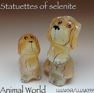 Figurines Basset Hound stone Selenite Russian Souvenirs Stone Carving. 2 pieces