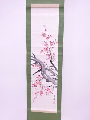 3856854: Japanese Wall Hanging Scroll / Hand Painted / Ume Blossom / Artisan Wor