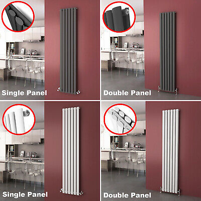6 Sizes Vertical Radiator Tall Rail Upright Oval Column Panel Central Heating UK