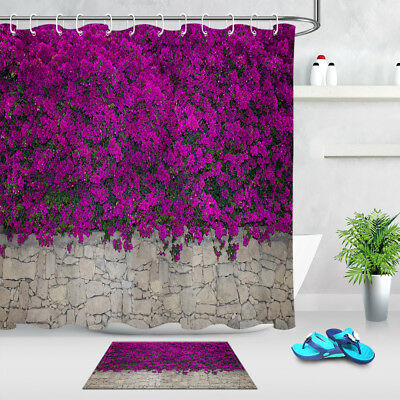 Waterproof Fabric Green Vine Brick Wall Shower Curtain Liner Bathroom Set Hooks