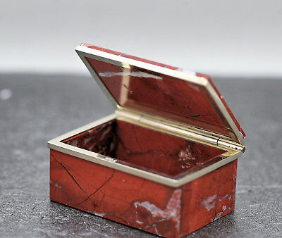 Exquisite Antique Red Agate Trinket Box Mounted On Sterling Silver Made In Chile