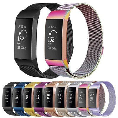 For Fitbit Charge 3 Strap Replacement Milanese Watch Band Stainless Steel Magnet