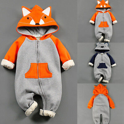 2 Color Newborn Baby Boy Girl Fox Hooded Romper Bodysuit Jumpsuit Zipped Outfit