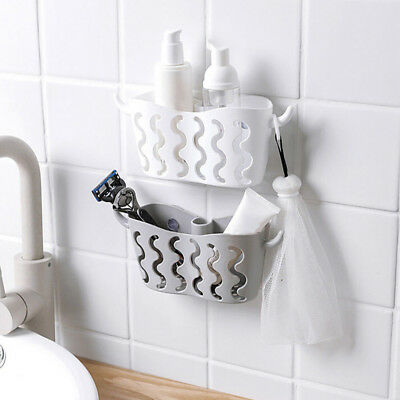 Bathroom Wall Hanging Storage Basket Organizer Container Shelf Cleaning Holder