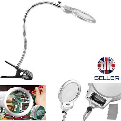 Large Lens Lighted Magnifier Desk Light Magnifying Lamp w/ Clamp LED Watch Tool