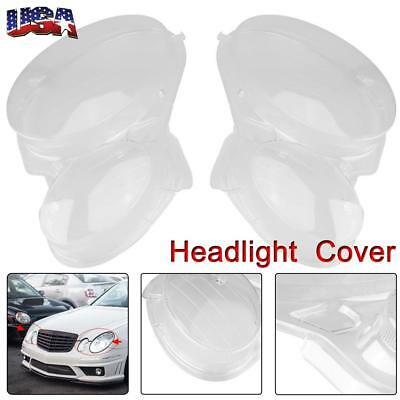Head Light Lenses Replacement Covers - Left Right Pair (For 2002-2008 Benz W211)
