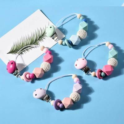 Silicone Baby Teething Dummy Pacifier Clip Bead Infant Soother Nipple Strap Gift